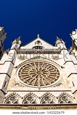Top of the main facade of the cathedral of leon on blue sky