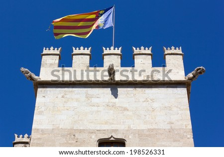 Top of the Tower of the Lonja de la Seda Gothic Palace in Valencia, Spain - stock photo