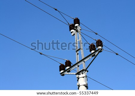 Top of the transmission tower - stock photo