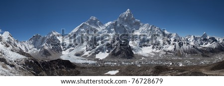 Top of the World. Everest Himalayan Range. View from Kala Pattar mountain. - stock photo
