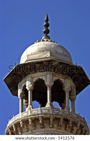 Top of tower at Taj Mahal - stock photo