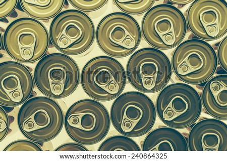 Top of view aluminum cans - Vintage effect style pictures
