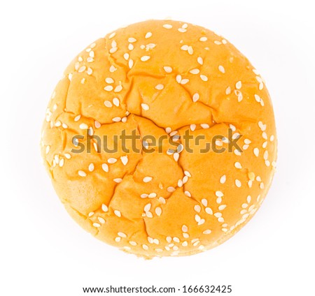 Top of view Chicken hamburger on white background - stock photo
