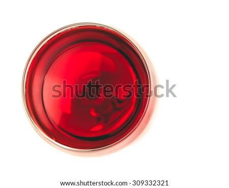 top of view of red wine in the glass isolated on white background with space for text - stock photo