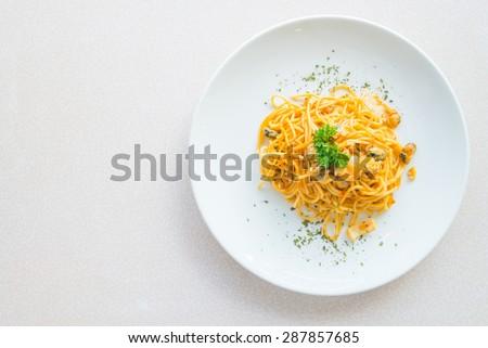 Top of view Spicy Spaghetti seafood , italian food - stock photo