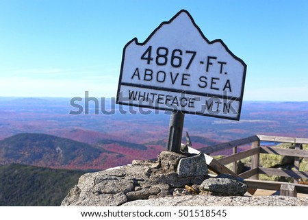 Top of Whiteface Mountain in fall, Adirondack Mountains, New York State, USA