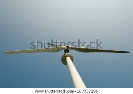 Top of Windmill viewed from below with copyspace. - stock photo
