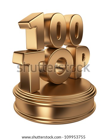 Top 100 on podium. 3D icon isolated on white background - stock photo
