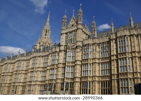 Top or exterior of Westminster palace or The British Parliament. Tourist attraction in London - stock photo
