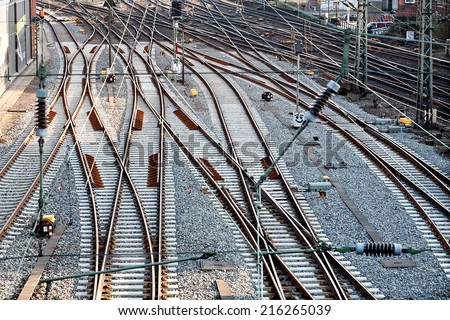 top perspective view on many railway track lines - stock photo