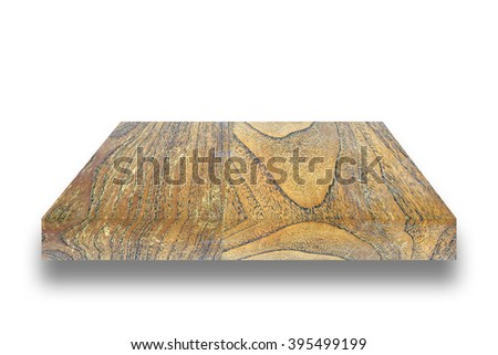 top plank wooden on white background