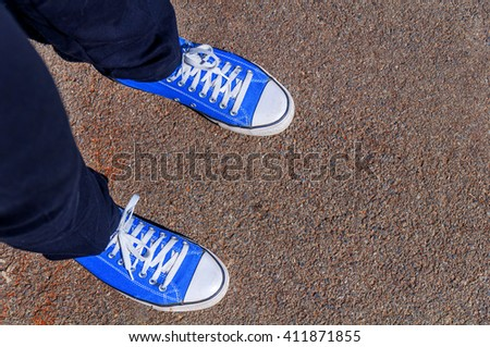 Top point of view of man shoes