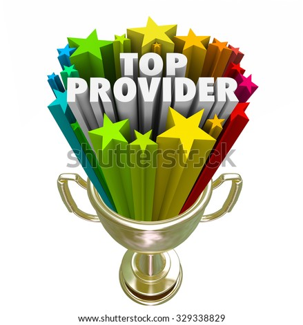 Top Provider words in 3d letters and stars in a golden trophy, prize or award for best doctor, medical care practitioner or insurance company - stock photo