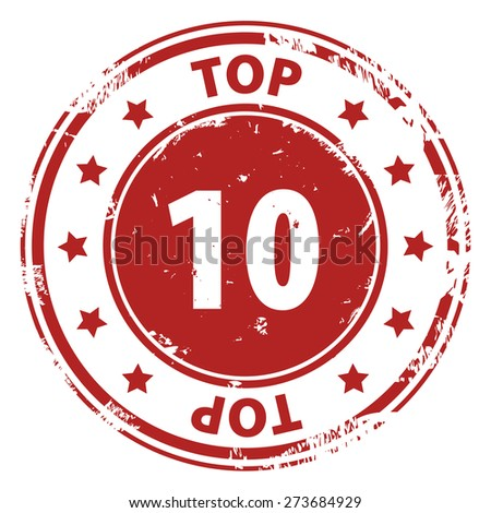 Top 10 red rubber stamp icon isolated on white background. illustration - stock photo