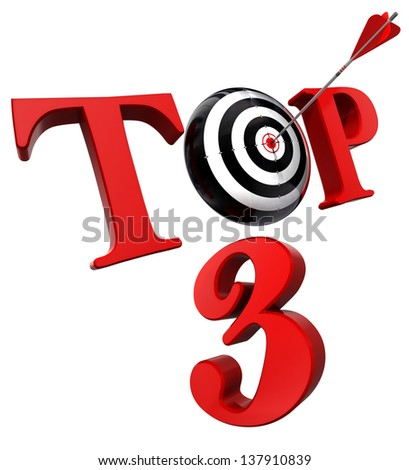 top 3 red word with target isolated on white background. clipping path included - stock photo