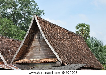 Top Roof Earthenware Tile - stock photo
