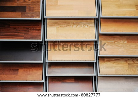 Top samples of various color palette - wooden floor - stock photo