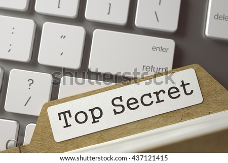 Top Secret. Card File on Background of White Modern Computer Keyboard. Business Concept. Closeup View. Selective Focus. Toned Illustration. 3D Rendering.