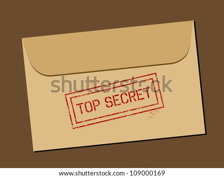 Top secret document in envelope. Rubber stamp - grungy illustration with text Top Secret. - stock photo