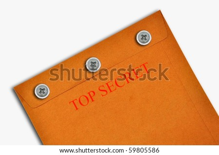 Top secret envelop as white background isolate - stock photo