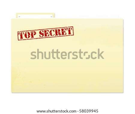 Top secret folder file with slight grunge. - stock photo