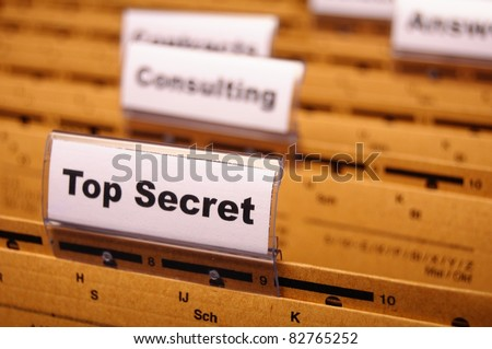 top secret folder or file in a business office - stock photo