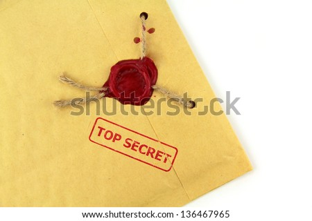 Top secret mail with red stamp and wax seal - stock photo