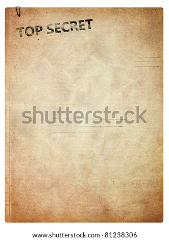 Top secret, old folder for papers isolated on white background - stock photo