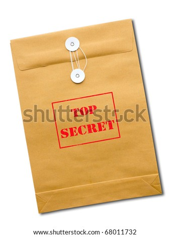 Top Secret package isolated over a white background.