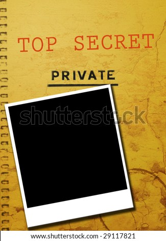 Top secret private investigator document with blank instant photo. Copy space for image or text. - stock photo