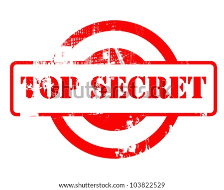 Top Secret red stamp with copy space isolated on white background.