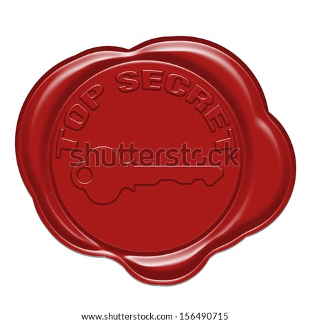 Top secret red wax seal isolated on white - stock photo