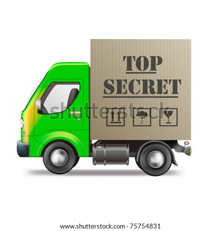 top secret shipment in cardboard box on delivery truck isolated on white
