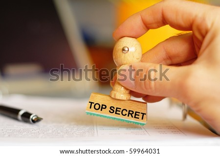 top secret stamp in intelligence office showing anti spy concept - stock photo
