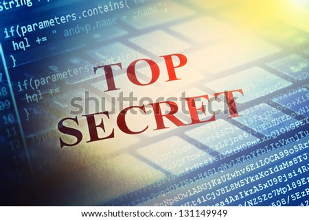 Top secret text and computer program background. Selective focus. - stock photo