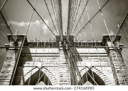 Top section of the Brooklyn Bridge arches and its support cables