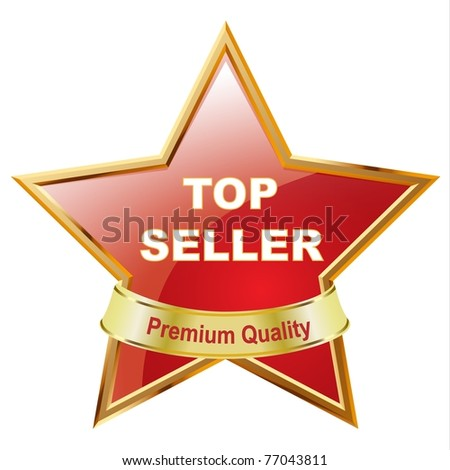 Top Seller glossy star on white background - stock photo