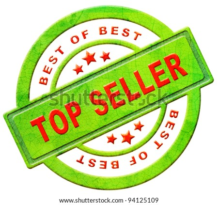 top seller icon bestseller best seller red text on green button for online internet web shop sales concept and shopping - stock photo