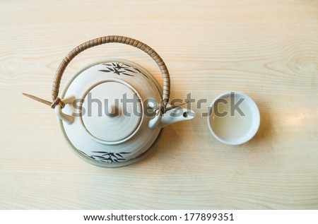 Top shot of Japanese soup in the Japanese pot style. - stock photo