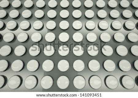 Top shot of white, unnamed tablets in a blister packaging. Perfect for any medicine or pharmaceutical related purposes.