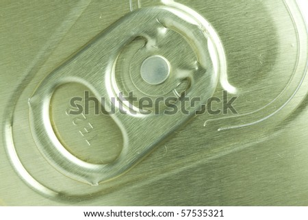 Top side of a alumnium can with an opener - close up - stock photo