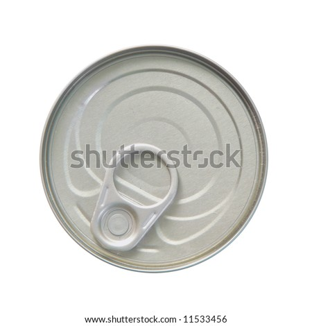 Top side of a can with an opener, tinned goods on a white background - stock photo