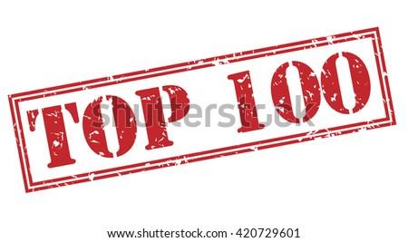top 100 stamp - stock photo