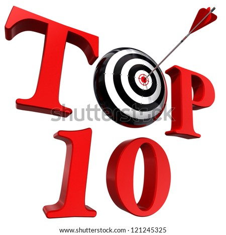 top ten red word with target and arrow on white background. clipping path included - stock photo