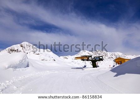 Top terminal station of the chairlift, San Simone Ski Resort, Italy. - stock photo