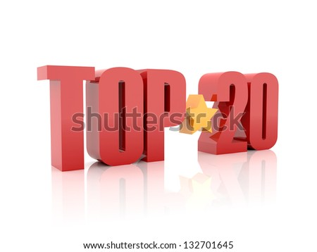 Top twenty red word  isolated on white background. 3D illustration.