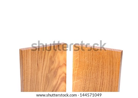 Top two vertical boards (acacia, oak) on a white background