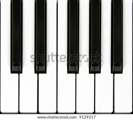 Top vew of one octave section of piano keyboard