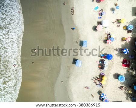Top View a Beach, Rio de Janeiro, Brazil - stock photo