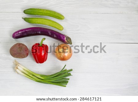 Top view angle shot of fresh vegetables consisting of beet, green onion, yellow onion, red bell pepper, eggplant, and cucumber on white wood. Layout in horizontal format with plenty of copy space.  - stock photo